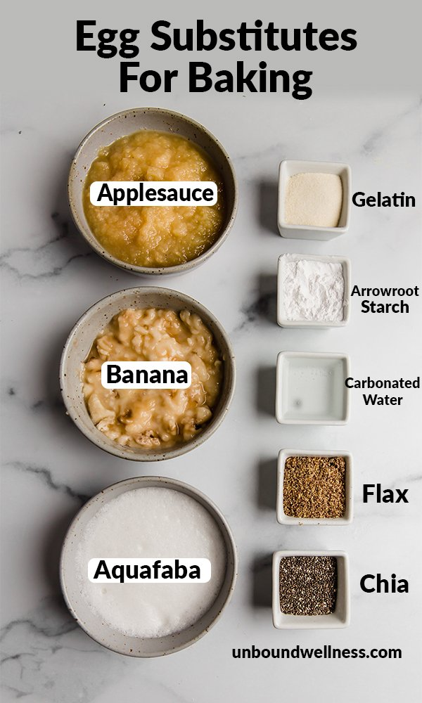 the 8 best egg substitutes listed with accompanied pictures