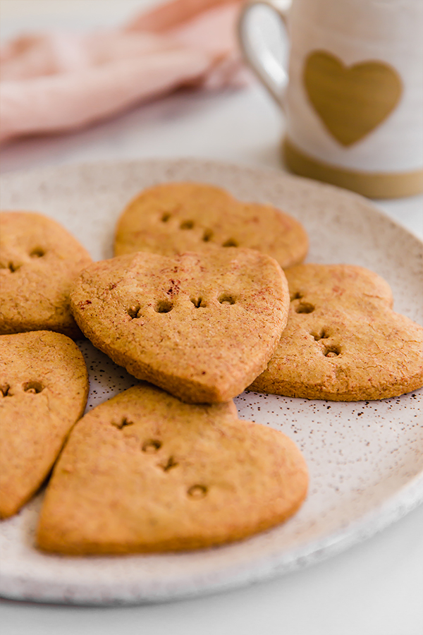 conversation heart sugar cookies on plate
