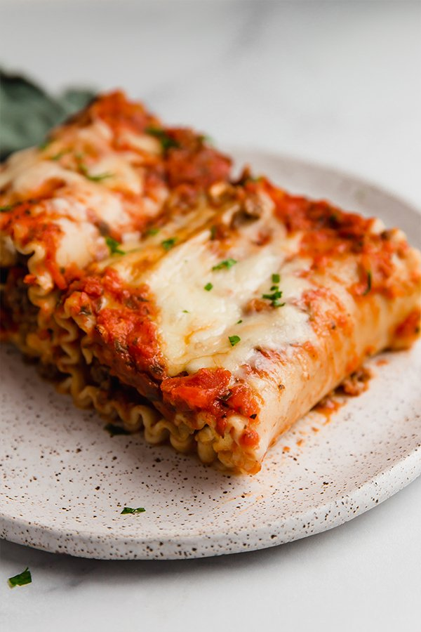 freezer lasagna roll-ups on plate