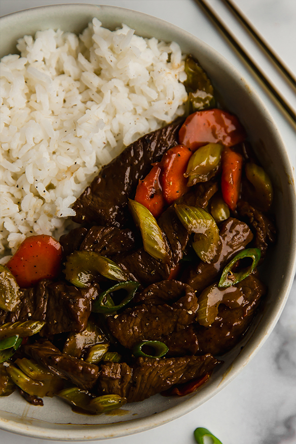 beef and celery stir fry with rice