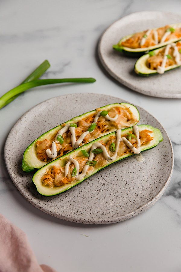 Stuffed zucchini plated ready to eat