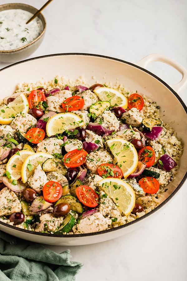 one pan greek chicken meal prep in skillet