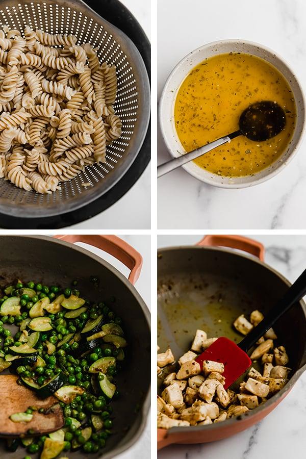 Progression of the preparation of the pasta salad