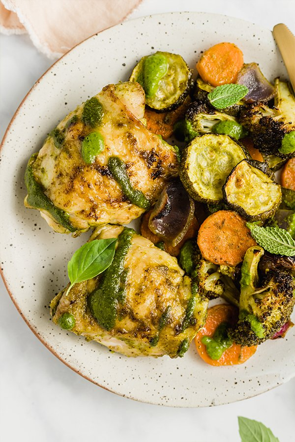 chicken pesto on plate