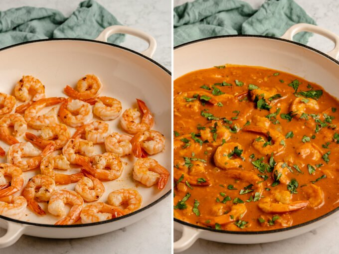 shrimp curry cooking in a pan