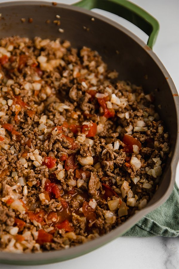 ground beef and cauliflower rice in a pan