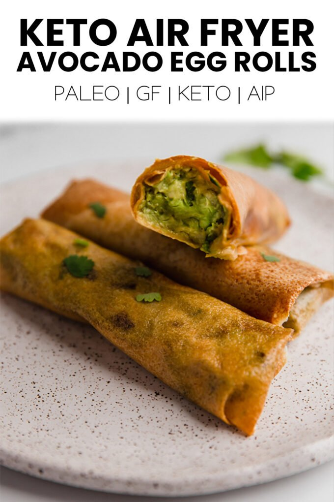 3 avocado egg rolls plated ready to eat