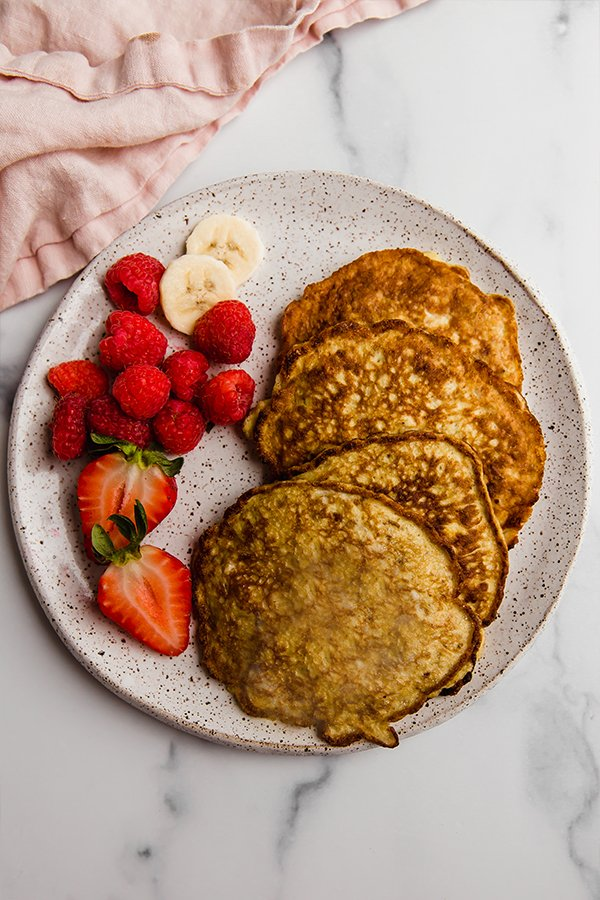 Pancakes on a plate with berries
