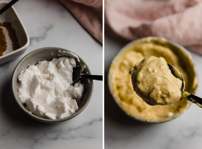 Left side: coconut yogurt in a bowl, Right side: coconut yogurt mixed with seasonings to make curry dressing