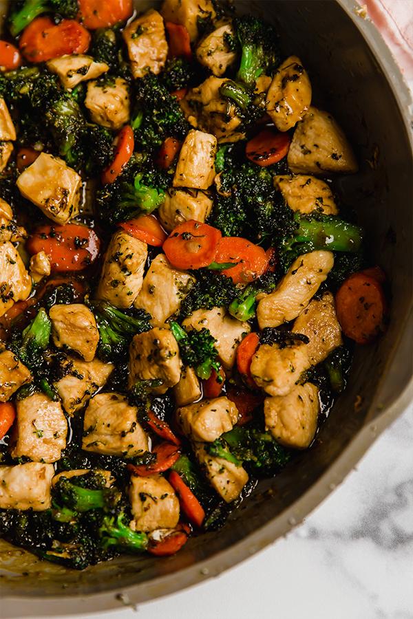 Chicken stir fry in frying pan