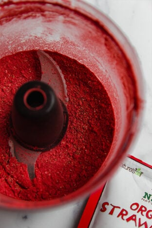 freeze-dried strawberries pulsed to powder form in food processor