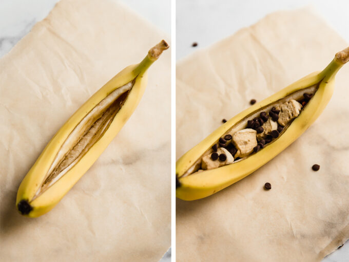 Campfire bananas side by side process shot