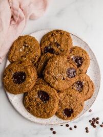 almond butter cookies overhead on a plate