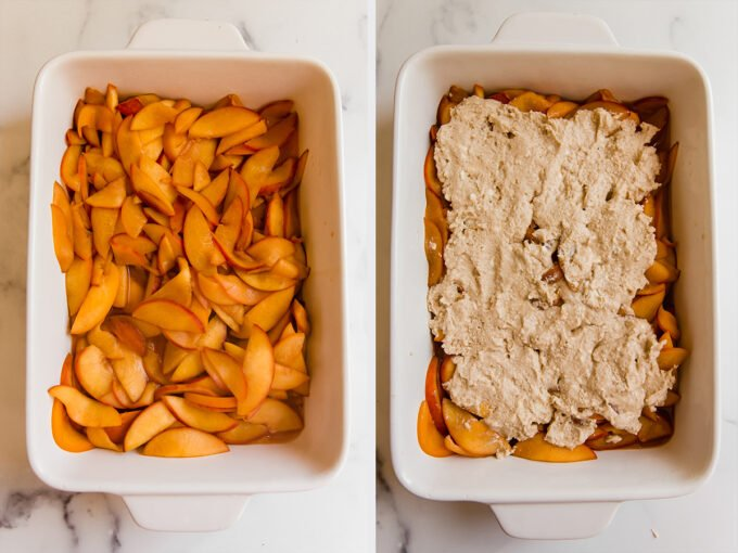 Layer of sliced peaches mixture with uncooked topping in baking dish