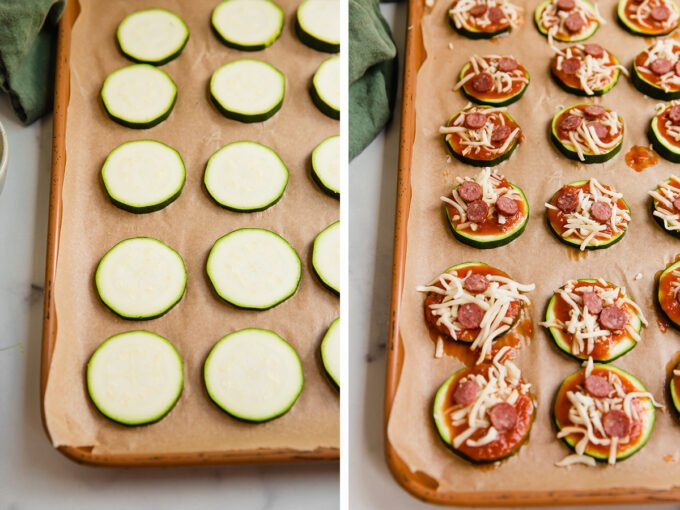 Sliced zucchini on pan with toppings