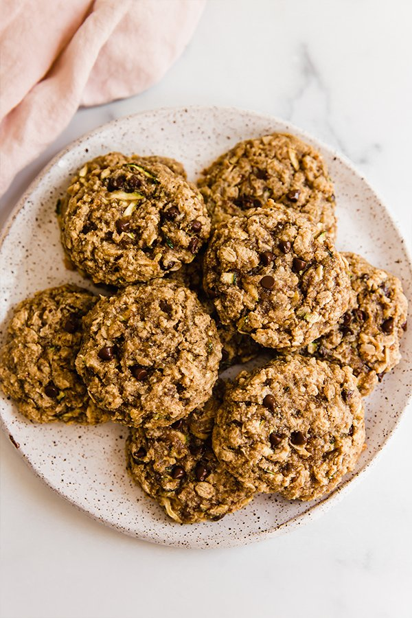Top view of Oatmeal zucchini cookies stacked on a plate