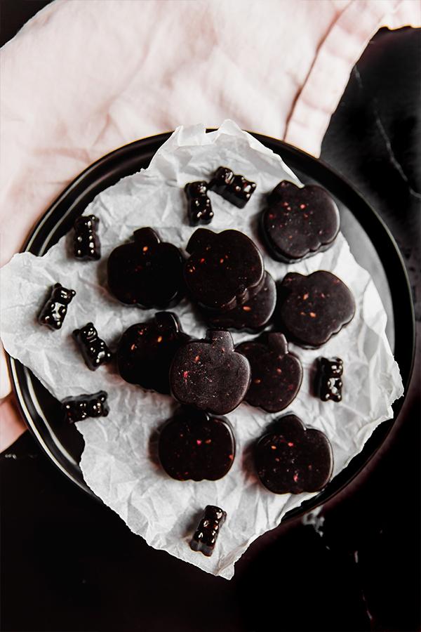 Spooky gummies on a plate.