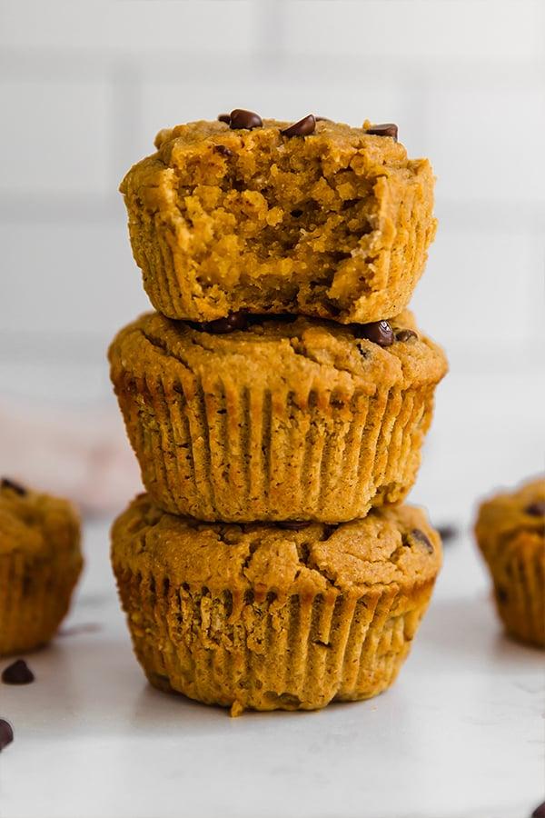 A stack of paleo pumpkin muffins.
